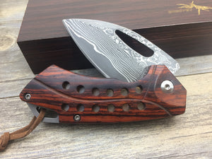 Handmade Collector Damascus Wood Handle Mini Small Art Pocket Folding - VIKNIFE