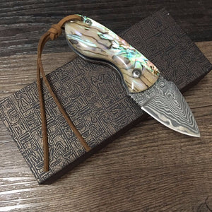 Handmade Collector Damascus Pocket Small Art Folding Abalone Knife - VIKNIFE