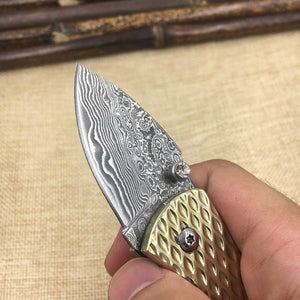 Handmade Collector Damascus Steel Handle Mini Small Art Pocket Folding - VIKNIFE