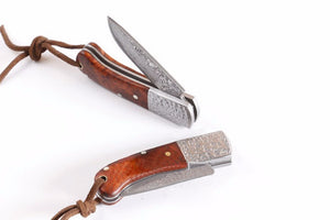 Handmade Collector Damascus Rosewood Small Pocket Folding - VIKNIFE
