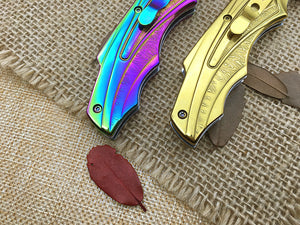 Folding Art Fantasy Colorful Gold Rainbow Multi-Color Damascus Karambit Knife - VIKNIFE