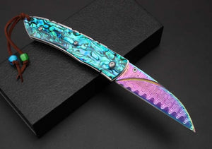 Handmade Collector Damascus Pocket Folding Fantasy Art Rainbow Multi-Color Blade - VIKNIFE