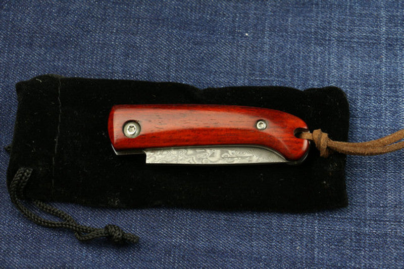 Handmade Collector Damascus Pocket Small Red Wood - VIKNIFE