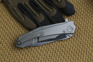 Venom Folding M390 Carbon Titanium Brand Stonewashed Knife Military Army EDC - VIKNIFE
