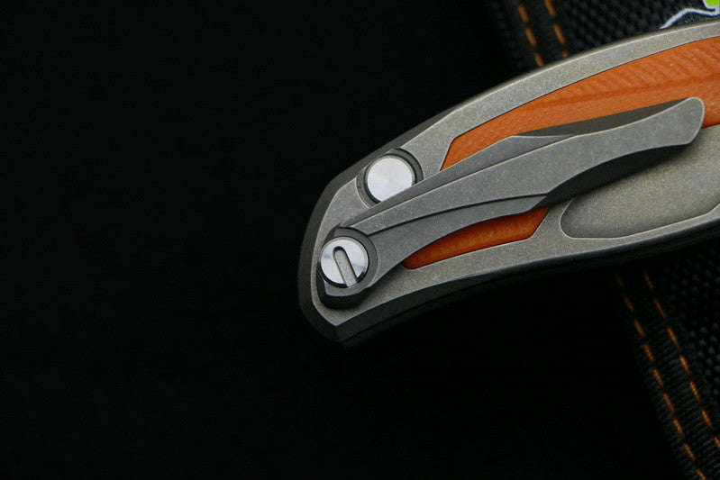 Shirogorov High-End Folding Orange Titanium Flipper D2 Steel - VIKNIFE
