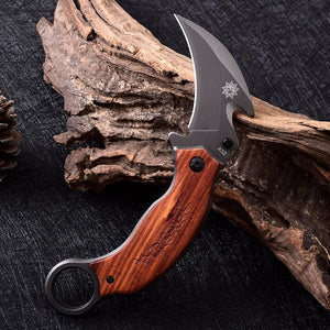 Folding Claw Karambit Edc Tactical Outdoor Knife Wood Handle Brand - VIKNIFE