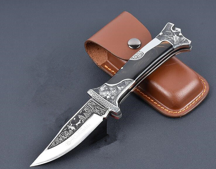 Handmade Collector Folding Black Brown Handle Art Knife - VIKNIFE