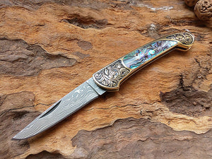 Handmade Collector Damascus Pocket Small Folding Abalone Yellow Brass - VIKNIFE