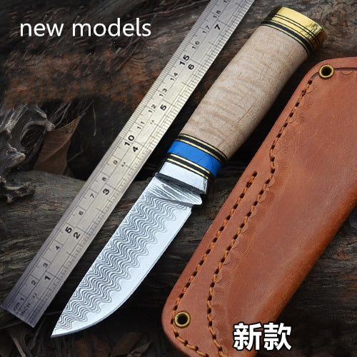 Damascus high hardness outdoor exploration Beautiful water ripple - VIKNIFE