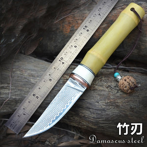 Damascus Nordic small knife hand forged steel pattern knife - VIKNIFE