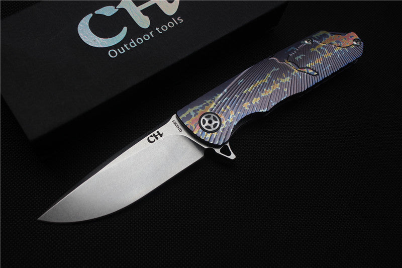 CH Brand Folding Knife Tactical Survival Knives Art Decoration Ball Bearing S35VN Titanium - VIKNIFE
