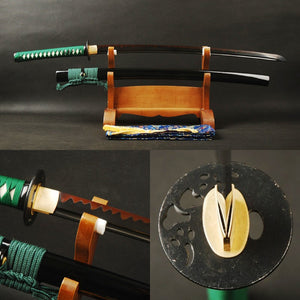 Swords High Carbon Steel Clay Tempered Sharp Sword Black & Red Blade Full Tang Japanese Katana Handmade Samurai Sword