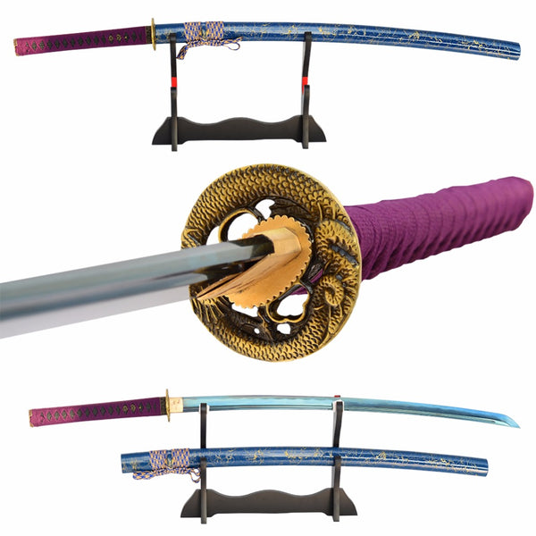 Swords Hand Forged Japanese Sword 1060 Carbon Steel Electroplated Blue Sharp Practice Sword Battle Ready Samurai Katana