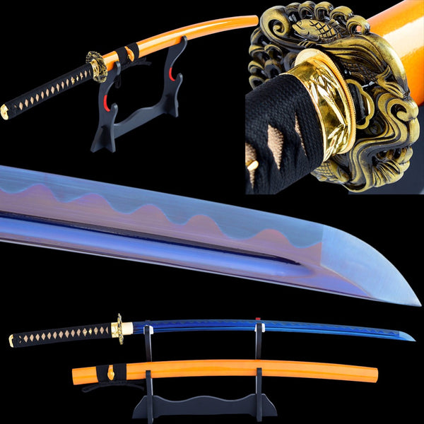 Swords Hand Forged Katana High Carbon Steel Blade Electroplated purple Blue Battle Ready Sharp Japanese Samurai Sword