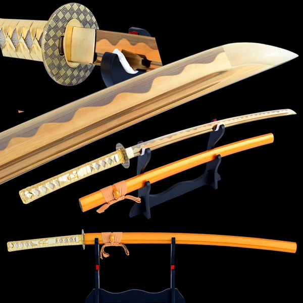 Swords Hand Forged Japanese Sword High Carbon Steel Wave Hamon Blade Electroplated Golden Battle Ready Samurai Katana