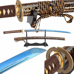 Shijian Swords Damascus Japanse Sword Folded Steel Blue Full Tang Blade Hand Forged Sharp Samurai Katana Vintage Metal Home Dec