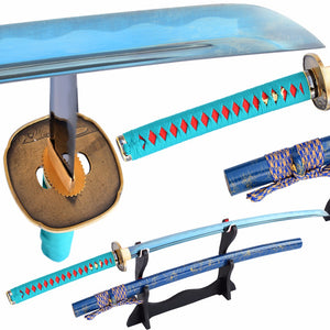 Swords Sharp Japanese Samurai Sword Katana 1060 Carbon Steel Full Tang Blue Blade Real Katana Sword Battle Ready