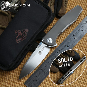 Venom Max Solid Titanium M390 Steel Ball Bearing Folding Tactical EDC - VIKNIFE