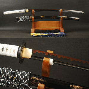 Swords Blck & Red Japanese Sword 1095 Carbon Steel Clay Tempered Full Tang Sharp Samurai Katana Handmade Practice Sword
