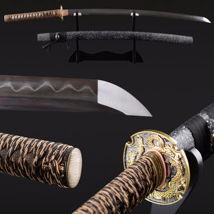 Folded Steel Clay Tempered Vintage Japanese Samurai Sword Handmade Sharp Edge Katana Full Tang Sharp Delicate Home Decoration - VIKNIFE