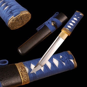 Handmade Short Knife Sharp Japanese Sword 1060 carbon steel Full Tang Cutting Knife Real Samurai Tanto Cutting Cosplay Sword - VIKNIFE