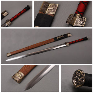 Chinese Ancient Sword Fully Handmade Han Dynasty  Sword Folded Steel Blade Staight Sword Traditional Technique - VIKNIFE
