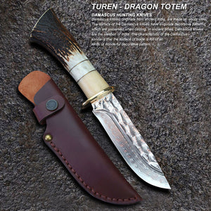 TUREN-Dragon Totem 60 HRC Handmade Damascus hunting straight knife wild antler cow bone handle with cowhide leather sheath