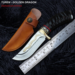 TUREN-Golden Dragon 60 HRC Handmade Damascus hunting straight knife black ram's horn handle with vegetable tanned leather sheath