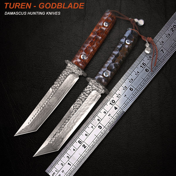 TUREN-Godblade 60 HRC Handmade Damascus hunting straight knife yellow sandal/ebony handle with vegetable tanned leather sheath