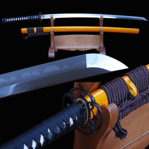 Vintage Japanese Samurai Sword Clay Tempered Full Tang Folded Steel Blade Fully Handmade Very Sharp Edge Katana Can Cut Bamboo