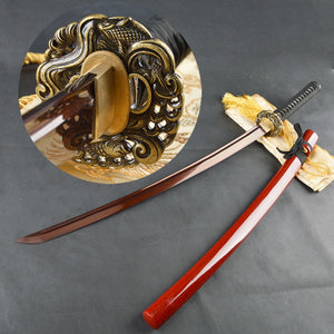 Vintage Home Decor Damascus Sword Folded Steel Red Blade Japanese Samurai Katana Handmade Sharp Nice Metal Martial Arts Supplies