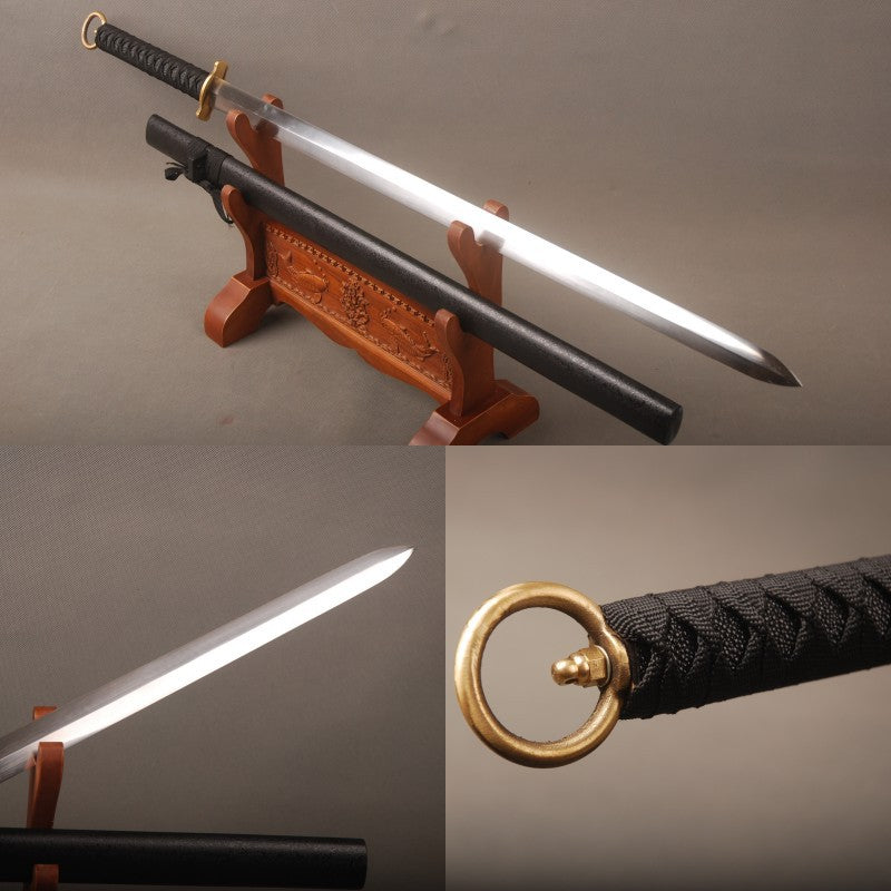 Fully Handmade Vintage Japanese Ninja Samurai Sword 1060 Carbon Steel Full Tang Straight Blade Knife Delicate Handicraft FCG0024 - VIKNIFE