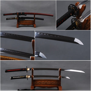 Handmade Decoration 1095 Carbon Steel Clay Tempered Blade Japanese Samurai Swords Set  Full Tang Sharp  Katana & Wakizashi - VIKNIFE