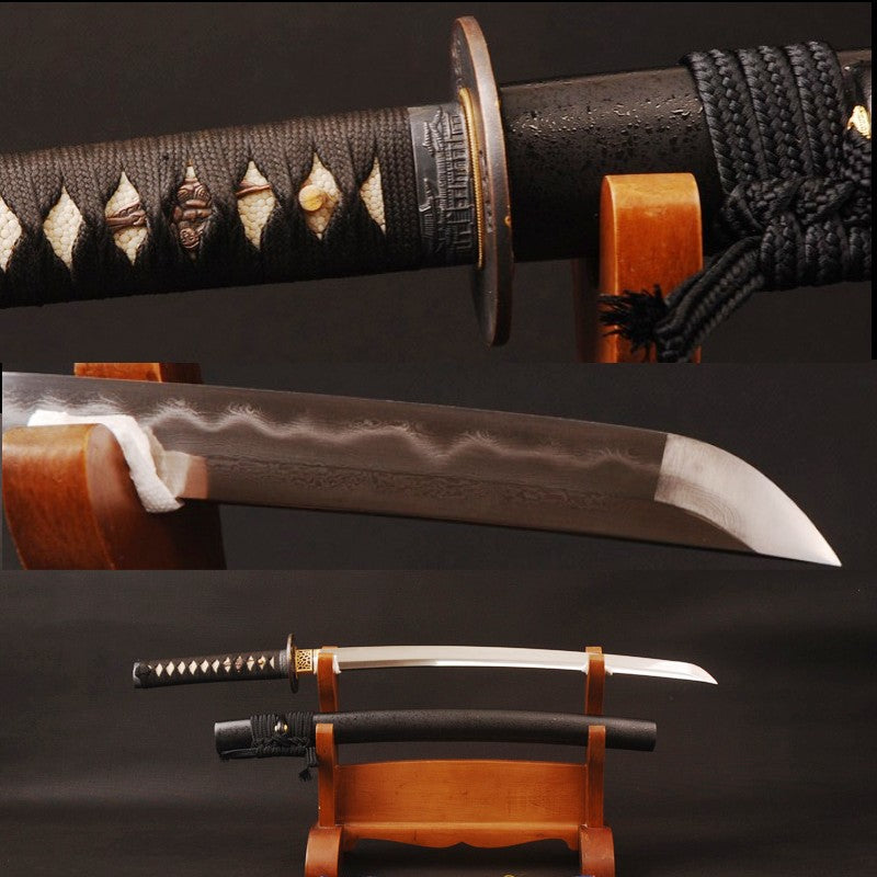 Vintage Japanese Sword Folded Steel 32768 Layers Clay Tempered Blade Full Tang Sharp Edge Handmade Useful Samurai Wakizashi 986