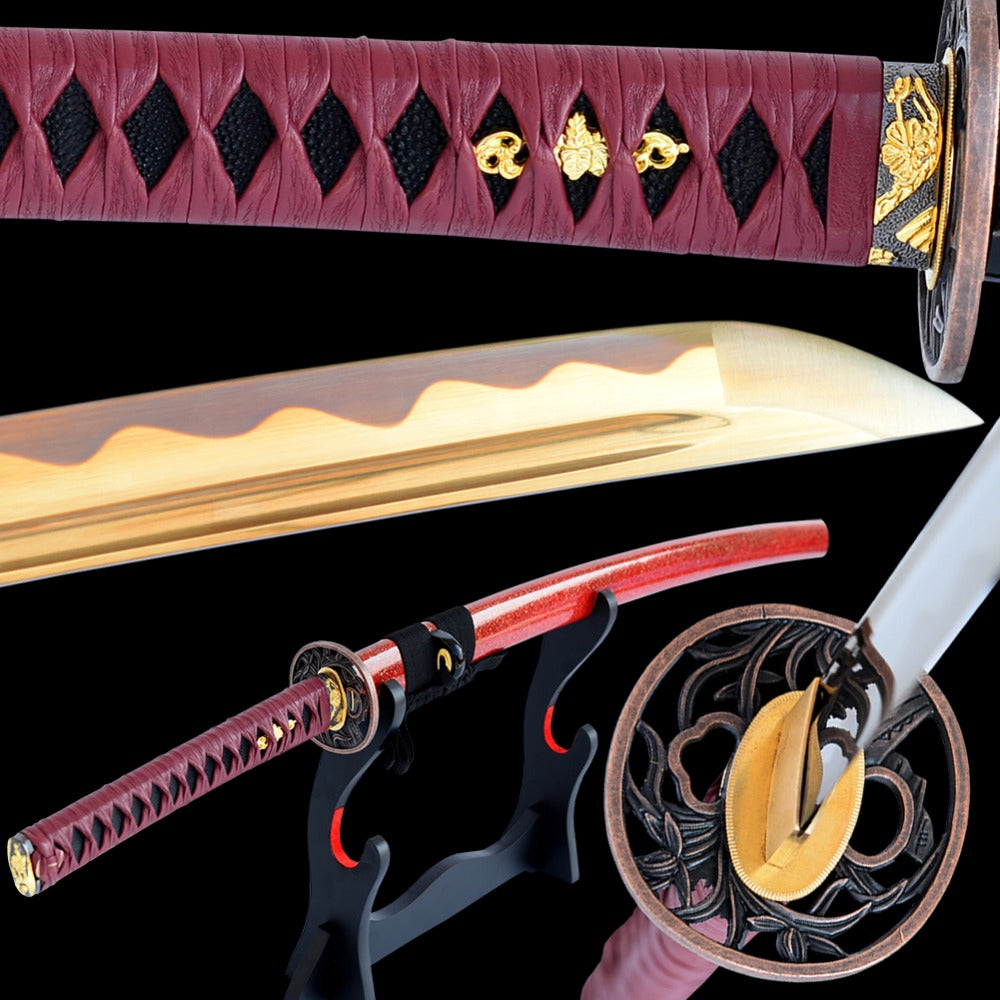 Katana Japanese Samurai Sword High Carbon Steel Electroplated Golden Blade Full Tang Sharp Espada Knife Can Cut Tree