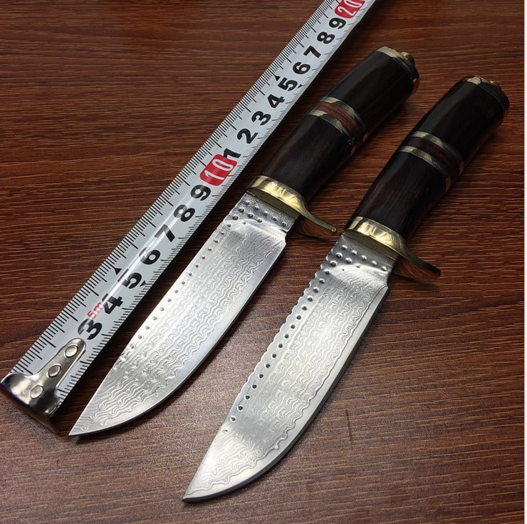 Outdoor knife pure manual Damascus knife Pattern steel knife gift collection