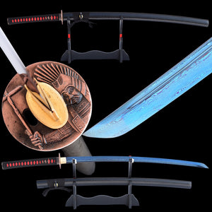 Swords Folded Steel Samurai Katana Damascus Full Tang Blue Blade Handmade Battle Ready Japanese Katana Sharp Knife