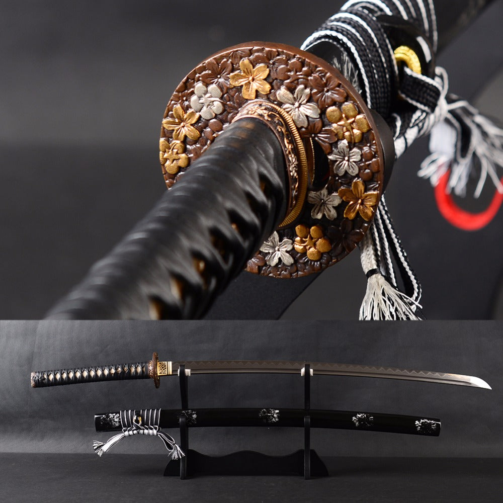 Very Sharp Japanese Samurai Katana Sword Damascus Folded Steel Clay Tempered Blade Full Tang Iaido Training Sword Espadas Knife