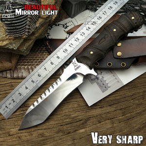 LCM66 Mirror light hunting knife Tactical Small Fixed Knives,Copper Ebony handle Survival Knife,Browning Camping Portable knife