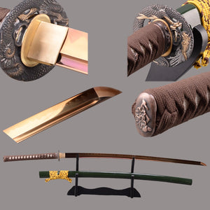 Swords Newly Sharp Japanese Katana Sword 1095 Carbon Steel Clay Tempered Espada Real Battle Ready Golden Samurai Swords