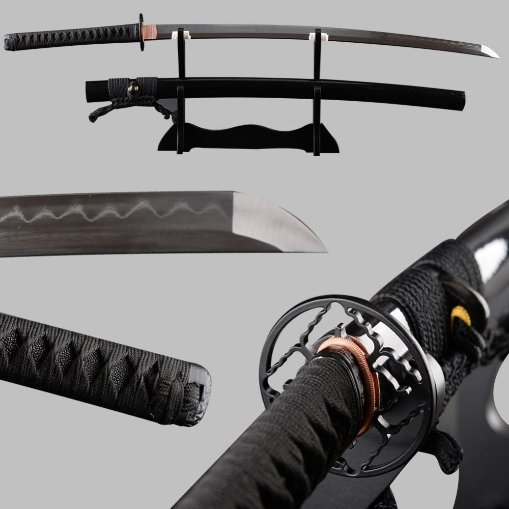 Very Sharp Japanese Samurai Sword Katana Folded Steel Clay Tempered Full Tang Espadas Vintage Decoration Samurai Cosplay Knife