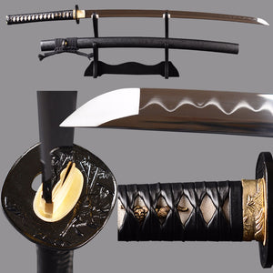 Shijian Swords Clay Tempered Japanese Katana Sharp Tameshigiri Samurai Sword Real Leather Wrappung Cord Sword Full Tang Knife
