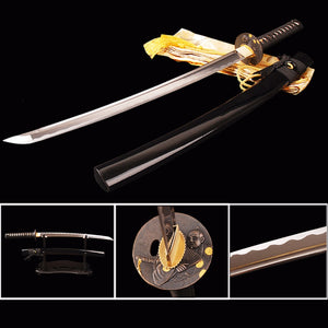 Real Sharp Jpanese Samurai Wakizashi Sword 1060 Carbon Steel Full Tang Blade Battle Ready Cutting Practice Medium Size Knife