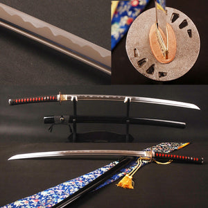 Iaido Japanese Samurai Sword Handmade Full Tang Manganese Steel Blade Espada Sharp Cutting Practice Knife Samurai Cosplay Sword - VIKNIFE