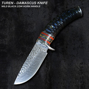 TUREN-Damascus 60 HRC Handmade Damascus hunting straight knife wild antler/cow horn handle with vegetable tanned leather sheath