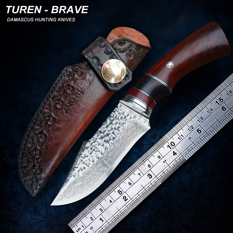 TUREN-Brave 60 HRC Handmade Damascus hunting straight knife rosewood/wild antler handle with vegetable tanned leather sheath