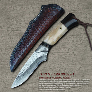 TUREN-Swordfish 60 HRC Handmade Damascus hunting straight knife wild cow bone handle with vegetable tanned leather sheath
