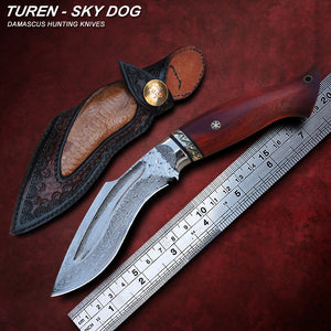 TUREN-Sky Dog 60 HRC Handmade Damascus hunting straight knife camwood/ebony handle with vegetable tanned leather sheath