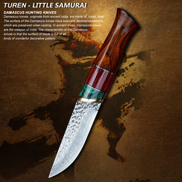 TUREN-Little Samurai 60 HRC Handmade Damascus hunting straight knife rosewood bone turquoise  handle with cowhide leather sheath