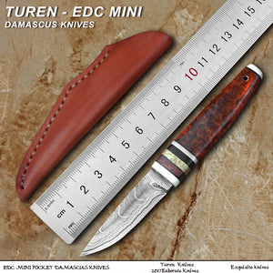TUREN-EDC mini  Damascus outdoor hunting knives 60HRC safflower pear galls handle with cowhide leather sheath